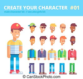 Male character creation set.  Flat vector.