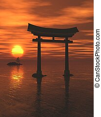 Japanese Torii Shrine Gate Sunset - Fantasy illustration of...