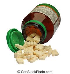 Vitamine pills for children, isolat - Bottle of vitamine...