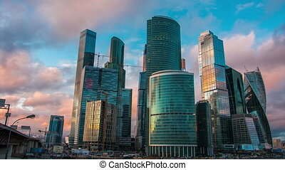 Scenic view of Moscow-City complex, Russia