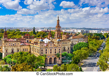 Plaza de Espana - Seville, Spain cityscape with Plaza de...