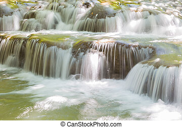 Blue stream waterfall - Close up blue stream waterfall in...