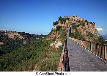 Beautiful panoramic view of famous Civita di Bagnoregio with...
