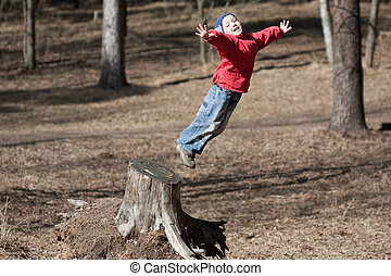 Little child jumping - Fun jump - little sport child high...