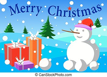 merry cristmas - wallpaper  snow gift and merry cristmas