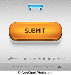 Orange button for webdesign or app Vector design elements -...
