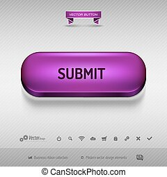 Purple button for webdesign or app Vector design elements -...