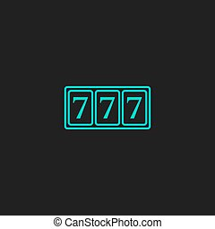 Simple icon 777. - Fortune 777. Flat simple modern...