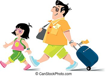 Funny air passenger and daughter - Vector illustration of...