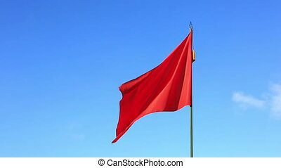 Decorative red flag waving in wind - Decorative scarlet flag...