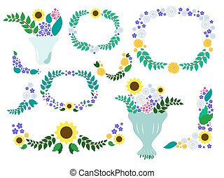 Summer flower wreaths and bouquets vector - meadow floral...