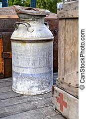 Old milk or cream can - An old steel milk can with a bit of...