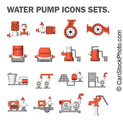 Water pump set - Water pump vector icons sets
