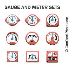 Gauge meter sets - Vector of gauge or meter sets.