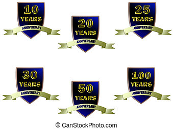 Anniversary Badges - Set of anniversary badges for 10th,...