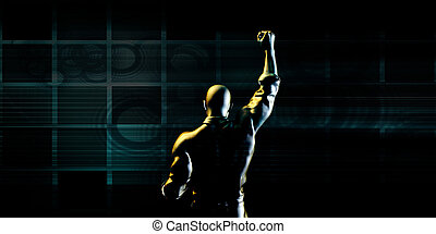 Man Pumping Fist on Technology Background as Concept