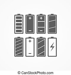 Battery charge icons The battery icons with a various level...