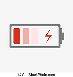 Battery charging Icon Red battery icon with a bad charge