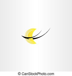 half moon night logo icon stylized vector - half moon night...