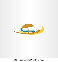 beach icon logo tourism sea umbrella vector