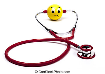 Sad Face - Isolated Red Stethoscope With Sad Face on White...