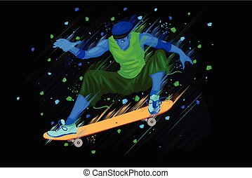 Skateboarder doing stunt - easy to edit vector illustration...