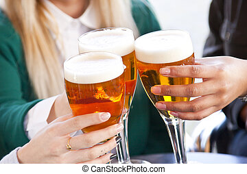 group of friends toasting and celebrating