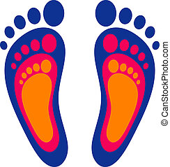 Symbol of the family: three footprints Vector illustration...