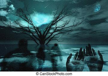 Above - Ghostlike figures journey in landscape