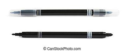 Felt-tip pen marker isolated - Felt-tip black pen marker...