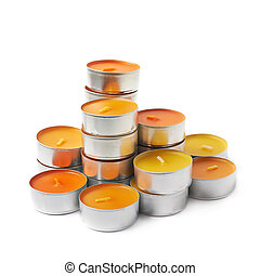 Tealight paraffin wax candle isolated - tealight paraffin...