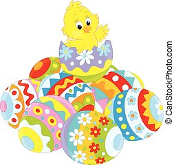 Easter Chick - Little yellow chicken hatched from a painted...