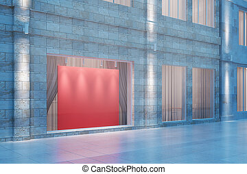 Exterior storefront with blank red billboard at night, mock...
