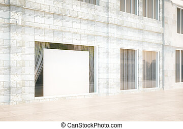 Exterior storefront with blank billboard, mock up, 3D Render