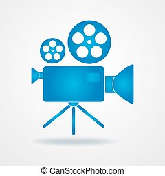 Camcorder icon. Blue icon of movie camera. Flat camcorder...
