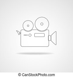 Movie camera icon. - Camcorder icon. Black icon of movie...