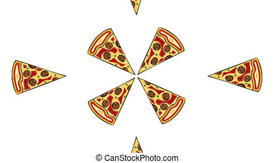 modern pizza on white background. Animation with alpha channel