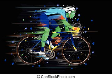 Sportsman doing Cycling - easy to edit vector illustration...