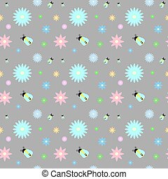 Pastel meadow flowers and bees on grey vector pattern with the swatch