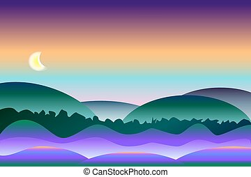 Peaceful and colorful night landscape vector background
