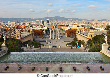 Plaza de Espanya in Barcelona - Montjuic fountain on Plaza...