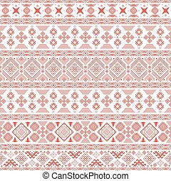 Seamless pattern with Slavic style elements in white and red...