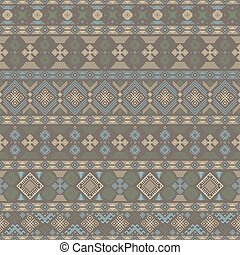 Seamless pattern with Slavic style elements in brown,...