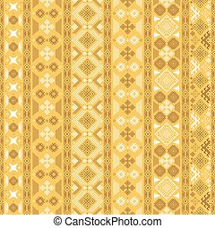 Seamless pattern with Slavic style elements in yellow,...