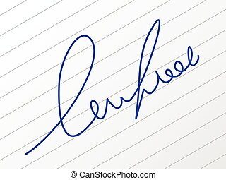 Signature on a sheet of paper.