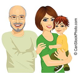 happy granddad, mother and her son - Portrait of happy...