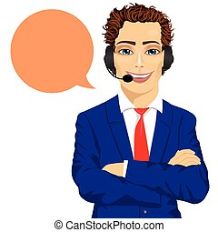 young male customer support phone operator with arms folded...