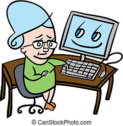 Senior woman using computer - Cartoon illustration of a...