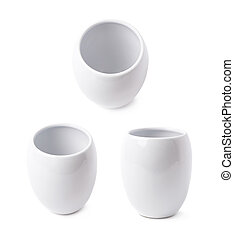 White glazed ceramic cup isolated over the white background,...