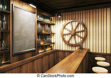 Blank board in pub interior